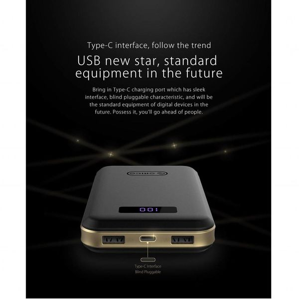 Orico 12500mAh Power Bank - 1x entrée de type C et de sortie (5V-3A) - 2x type A Ports USB Charge (5V-2.4A) - Batterie Li-Po - Écran LED - Noir