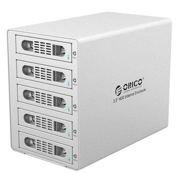 Orico Aluminium harde schijf behuizing voor 5 x 3.5 inch HDD/SSD schijven - USB 3.0 & eSATA - RAID -  Zilver
