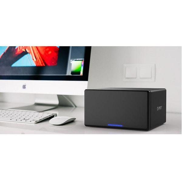 Orico Soft closing USB 3.0 Type-C Harde Schijf Behuizing - Voor 8 x 3.5 inch HDD/SSD - Aluminium & ABS - 5Gbps - Zwart