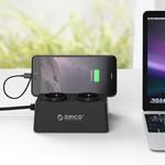 Orico Prise avec les ports de chargement USB 5 et 2 connecteurs - Tablette / Smartphone Stand - 2500W - Incl. interrupteur marche / arrêt et protection contre les surtensions - Noir
