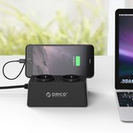 Orico Socket with 5 USB charging ports and 2 sockets - Tablet / Smartphone Standard - 2500W - Incl. on / off switch and overvoltage protection - Black