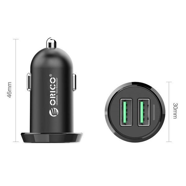 Orico 17W Dual USB Car Charger Quick Charge 2.0 - Schwarz - 12 - 24V