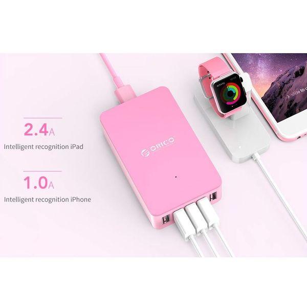 Orico 5 Port Smart-USB-Desktop-Ladegerät-Rosa
