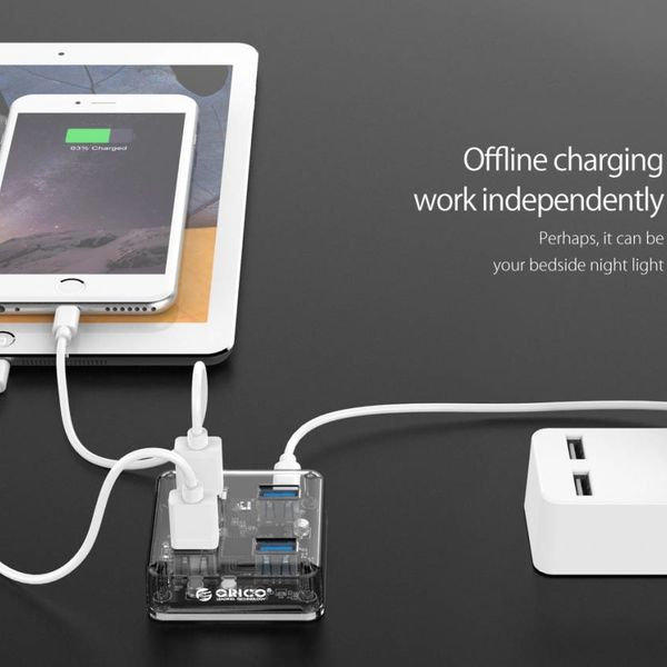 Orico Transparent USB3.0 Hub with 4 ports - 5 Gbps - Special LED indicator - 30 cm data cable