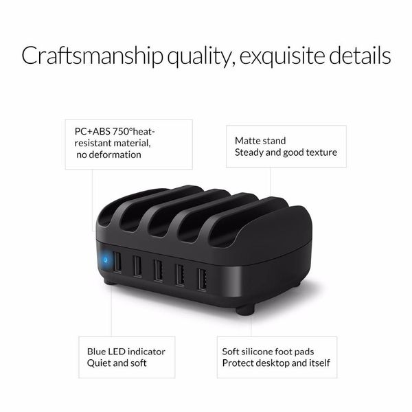 Orico chargeur 40W multi quai 5 station de recharge USB Port - Noir