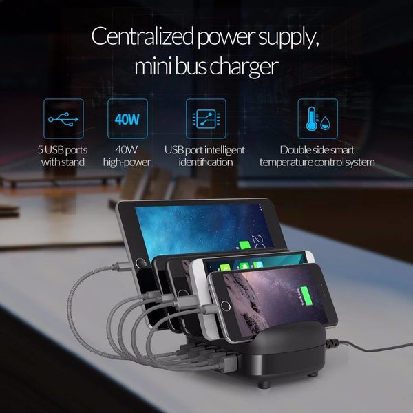 Orico 40W Multi charger docking station 5 Poort USB oplaadstation - Zwart