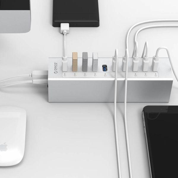 Orico Aluminuim USB3.0-Hub mit 10 Ports - Silber