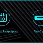 Orico Banque universelle de puissance de charge rapide - 10000mAh compatible avec le type C - Batterie Li-Po - Indicateur LED - Noir