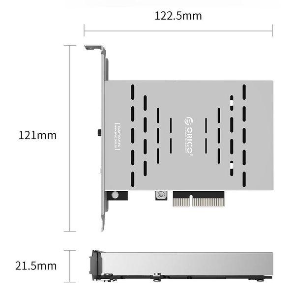 Orico Carte d'extension PCIe Dual M.2 SSD - RAID0 / RAID1 / AHCI - Emplacement X4, X8, X16 - PCI-e 3.0 / 2.0 / 1.0 - Gris argenté