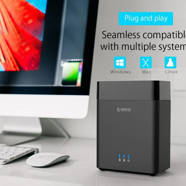 Orico Soft closing 2-Bay Type-C harde schijf station voor 3.5 inch SATA HDD –  Slaapmodus - LED-indicator - Zwart