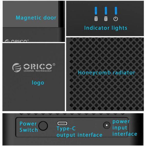 Orico Bay double type magnétique de 3,5 pouces de type C Disque dur Boîtier