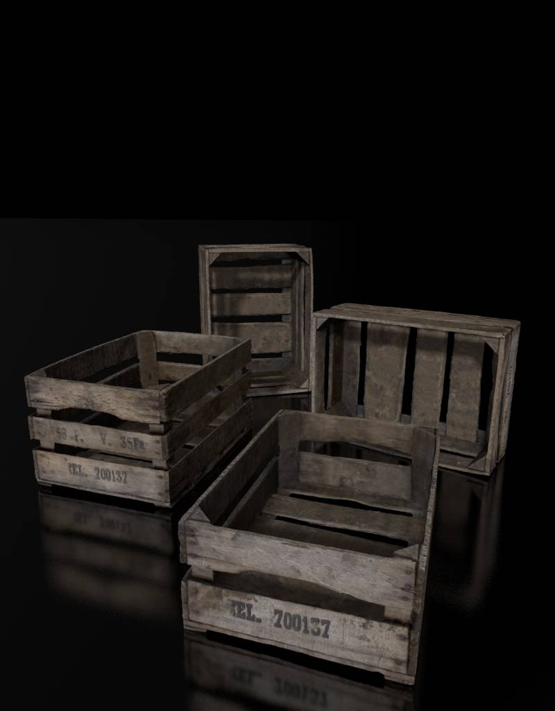 3D model wooden crates