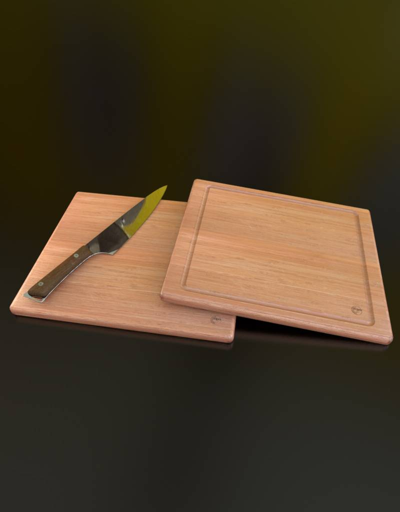 3D model of a cutting board and kitchen knife