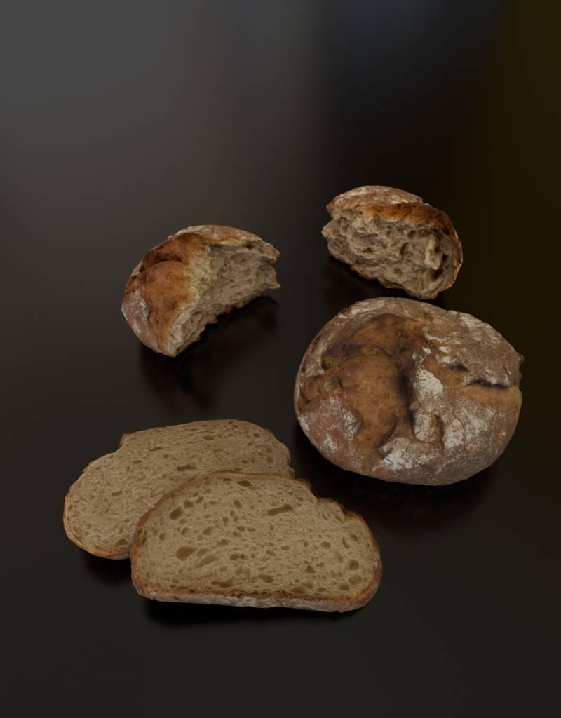 3D model rustic rye bread