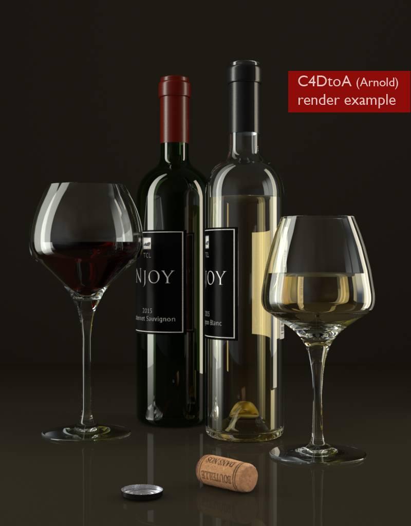 3D models of  Wine bottles and glasses