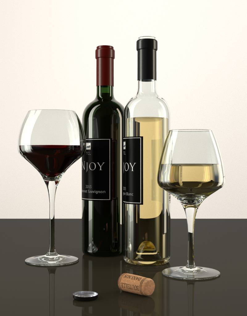 3d Models Of Wine Bottles And Glasses Cg Moa