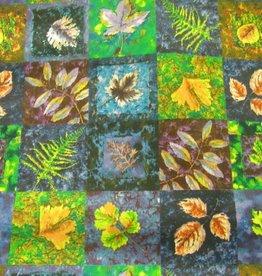 """Stoff """"Herbstblätter blau-grün"""""""