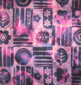 "Stoff ""Batik dunkelblaue Ornamente auf pink"""
