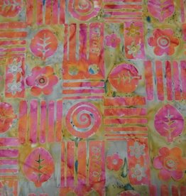 """Stoff """"Batik Phantasiemuster pink-orange"""""""