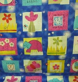 """Stoff """"Kinder Tiere Blumen"""""""