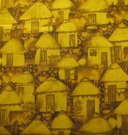 """Stoff """"Afrika Häuser ocker"""""""