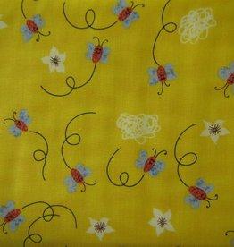 """Stoff """"Schmetterlinge und Blumen gelb"""""""
