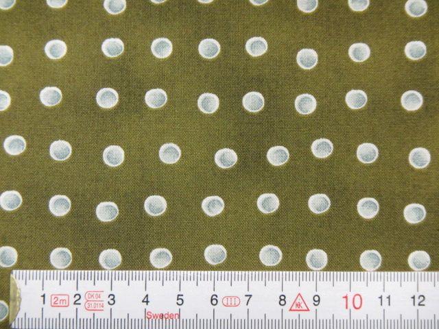 Patchworkstoff graue Punkte auf oliv