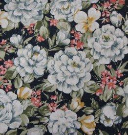 """Stoff """"Weiße rosa Blumen dunkelblau"""""""
