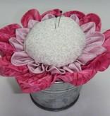 Patchworkarbeit Nadelkissen rosa-pink