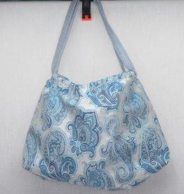 Handtasche klein blau weiß
