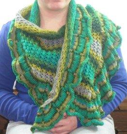 Lace Schal asymetrisch grün grau