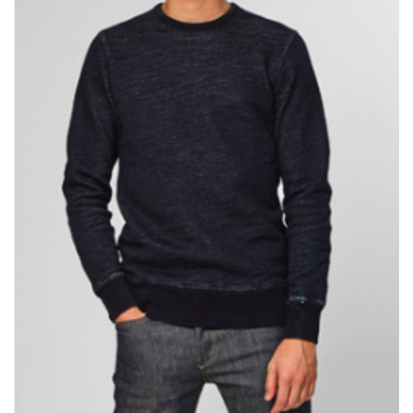sweater blauw met mouwstuk