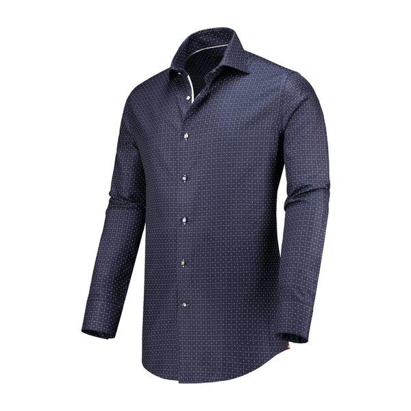 Dress Shirt Donker Blauw Ruit