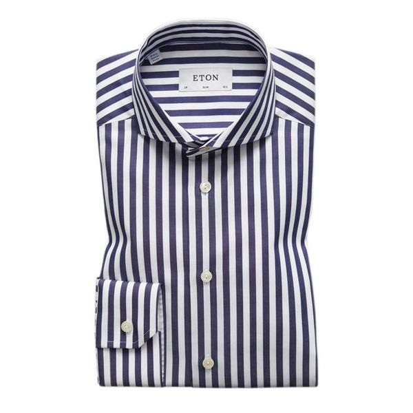 Navy & White Bold Striped Shirt