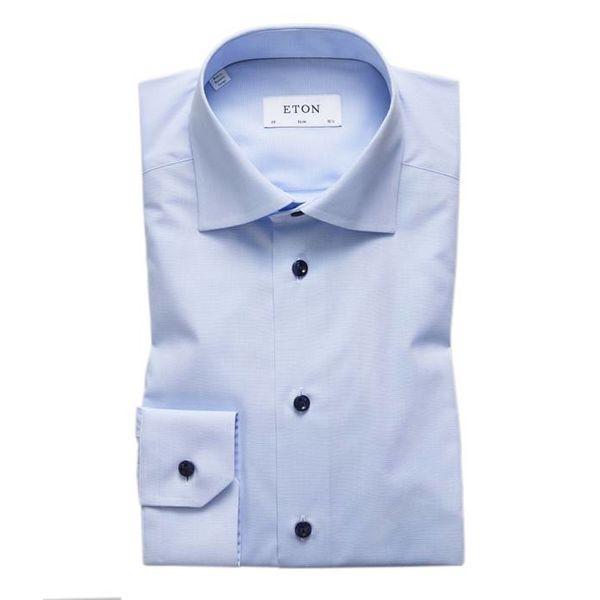 Sky Blue Shirt - Navy Buttons