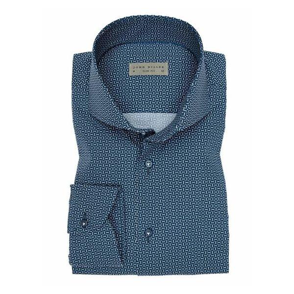 Donker Blauw Print Shirt