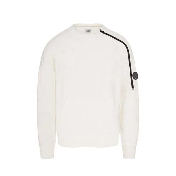 Diagonal Fleece Lens Zip Crew Neck Sweatshirt