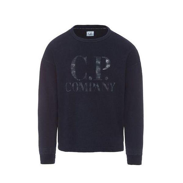 Washed Indigo Fleece C.P. Big Logo Crew Neck Sweatshirt