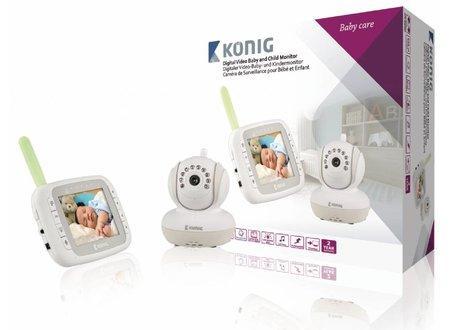 Konig Babyfoon Audio/Video 2.4 GHz Wit/Grijs - Met monitor