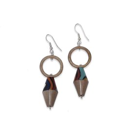 "Ernesto de Barcelona ""Peaceful Abundance"" Recycled Wood Earrings"