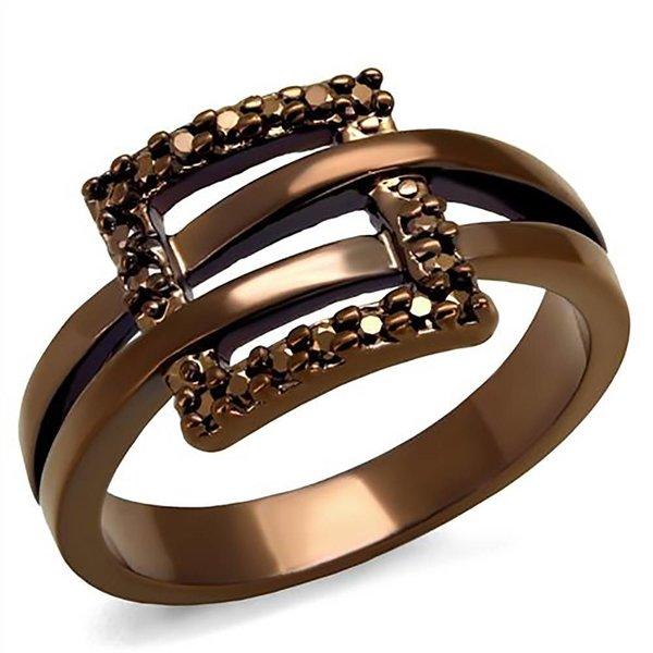 """Selection NoeBijou Ring """"Belt Buckle"""" with brown zirconias"""