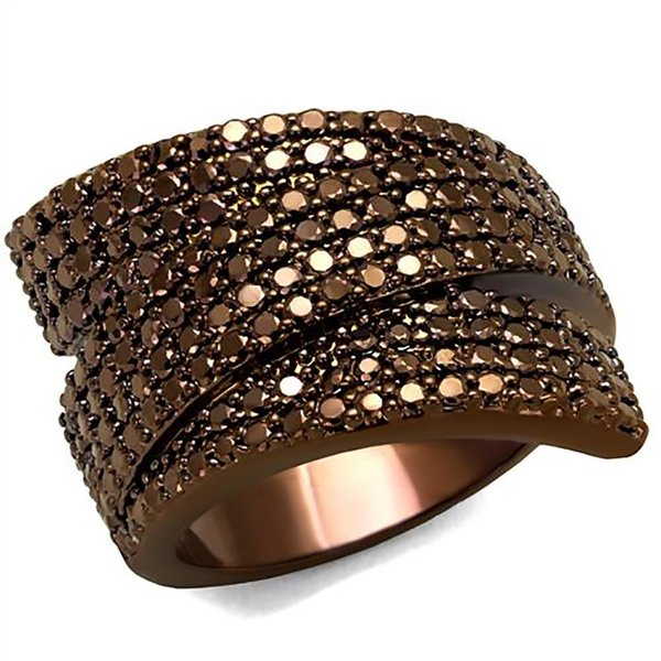 Selection NoeBijou Ring ribbon with brown zirconias