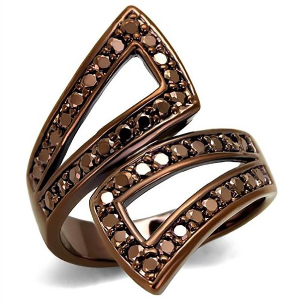 Selection NoeBijou Ring ribbon with brown zirconias  - Copy