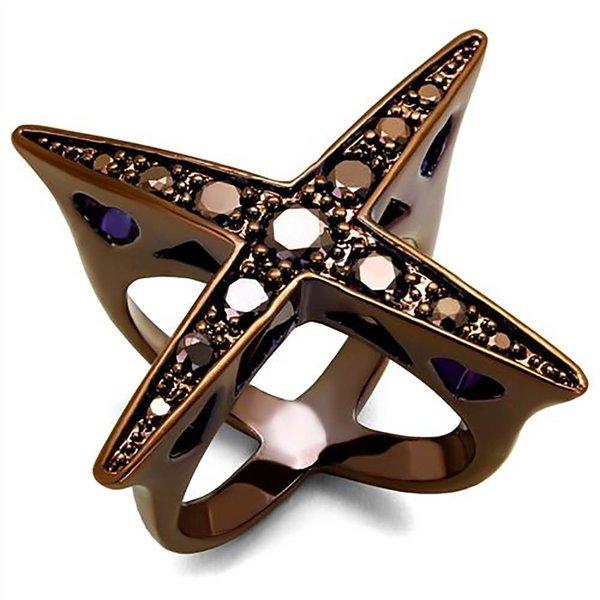 Selection NoeBijou Ring inmodern Design and braunen Zirkonias