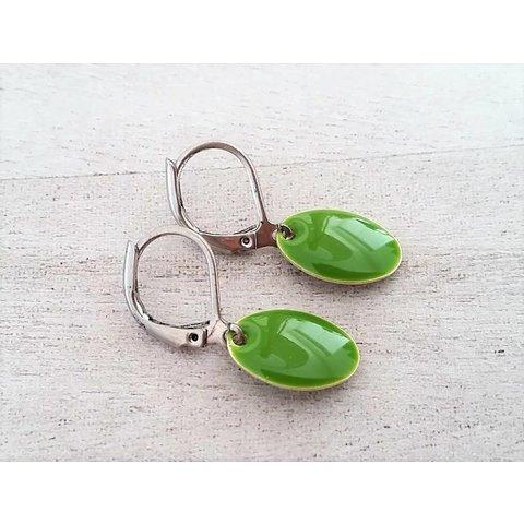 Earrings enamel green