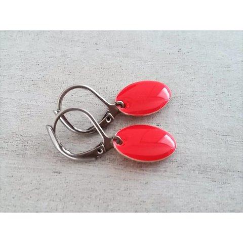 Earrings enamel red