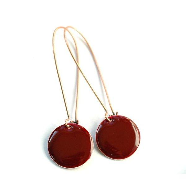 Selection NoeBijou Pendientes con circulo esmaltado en rojo vino