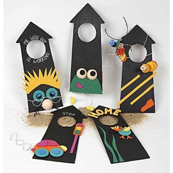 knutselpakket deurhangers maken, 6 kinderen