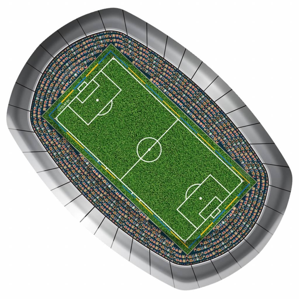 8 borden in de vorm van een voetbalstadion