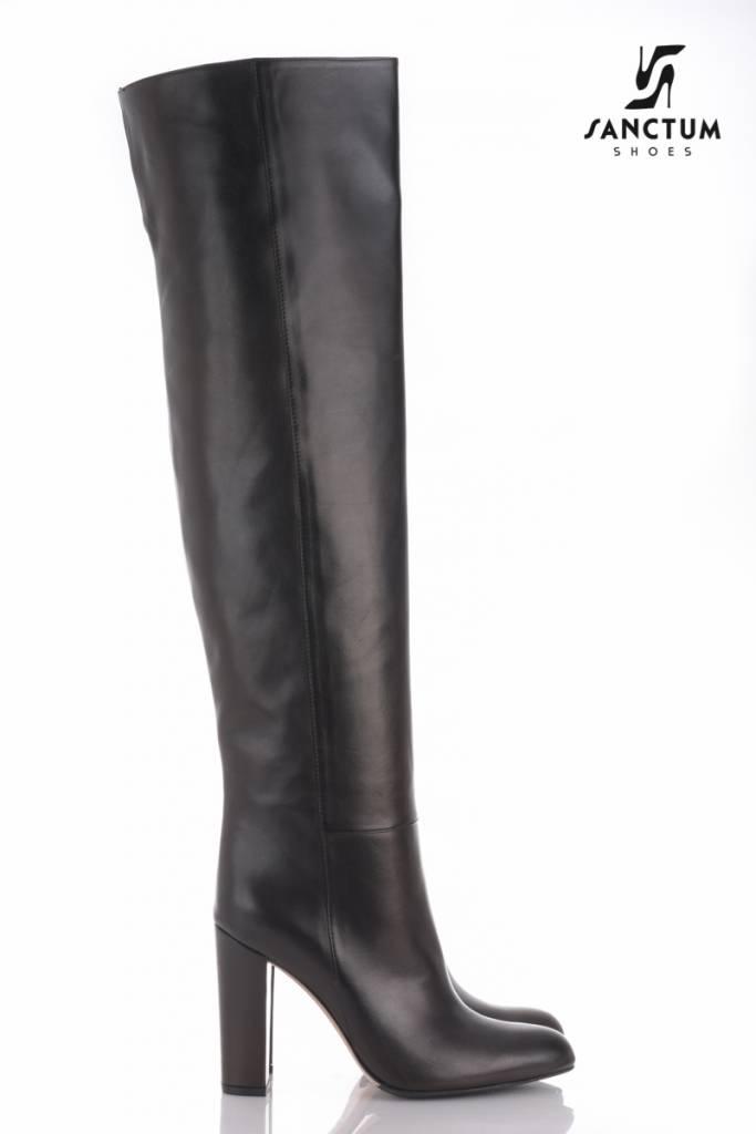 italian leather overknee boots with chunky heels